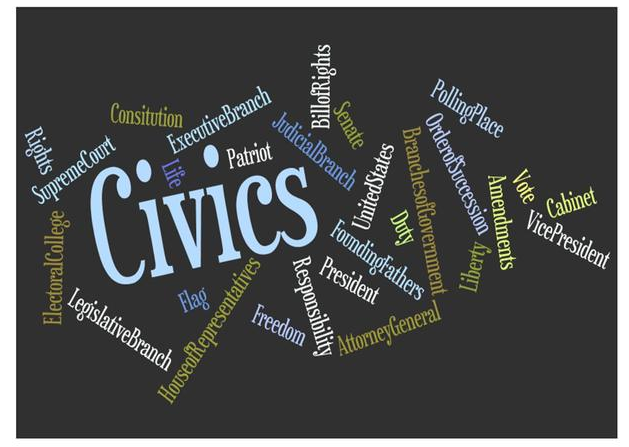 Image with Civics as the title and vocabulary covered in the course